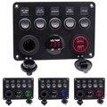 12-24 В 5 банд ВКЛ-ВЫКЛ переключатель панель двойной USB разъем зарядное устройство светодиодный вольтметр 12 В розетка питания для автомобиля л...