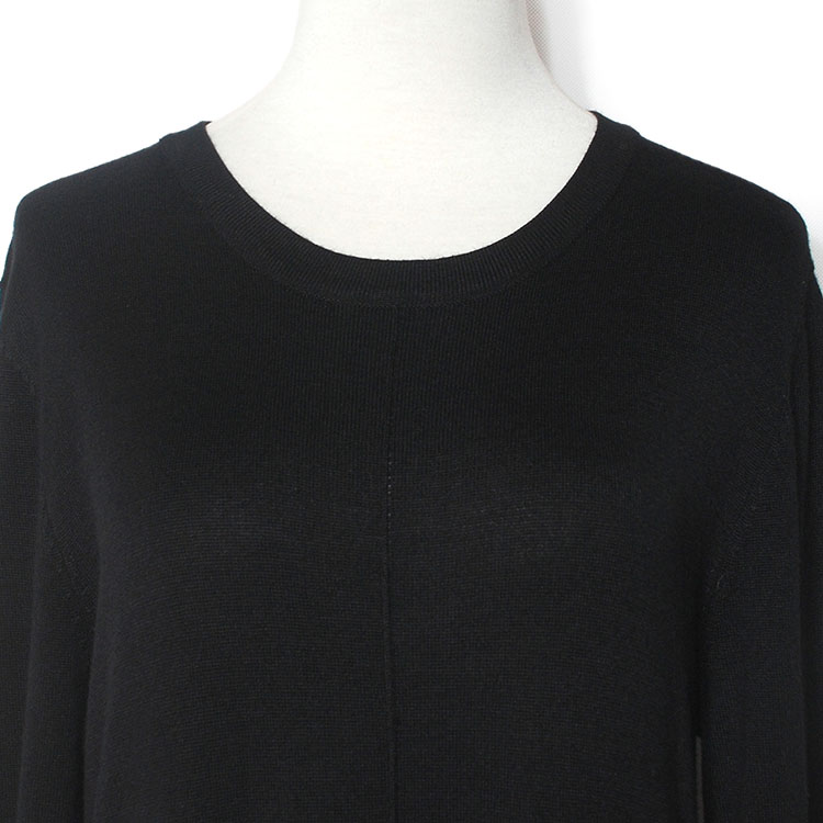 YUNINYOYO spring autumn High fork thin knited dress with LAMBSWOOL  Cashmere cotton  Long sleeves black knitwwear dress