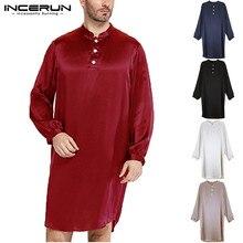 INCERUN, мужские шелковые атласные пижамы, халаты с длинным рукавом, Одноцветный халат, домашняя одежда для мужчин, мягкая повседневная мужская одежда, одежда для сна размера плюс
