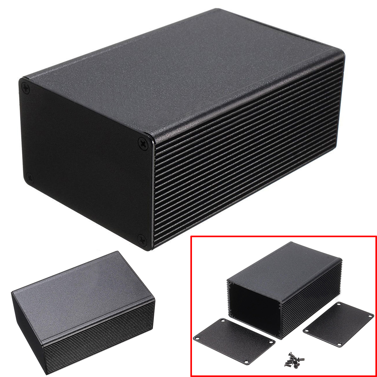 Aluminum Enclosure 100x66x43mm Aluminum Electronic Box Black PCB Instrument Meter Enclosure Case DIY Electronic Project Case|Connectors| |  - title=
