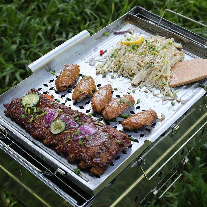 Barbecue all'aperto vassoio non stick Barbecue forno di cottura padella in acciaio inox ispessimento torrefazione del carbone di legna grill piastra strumento