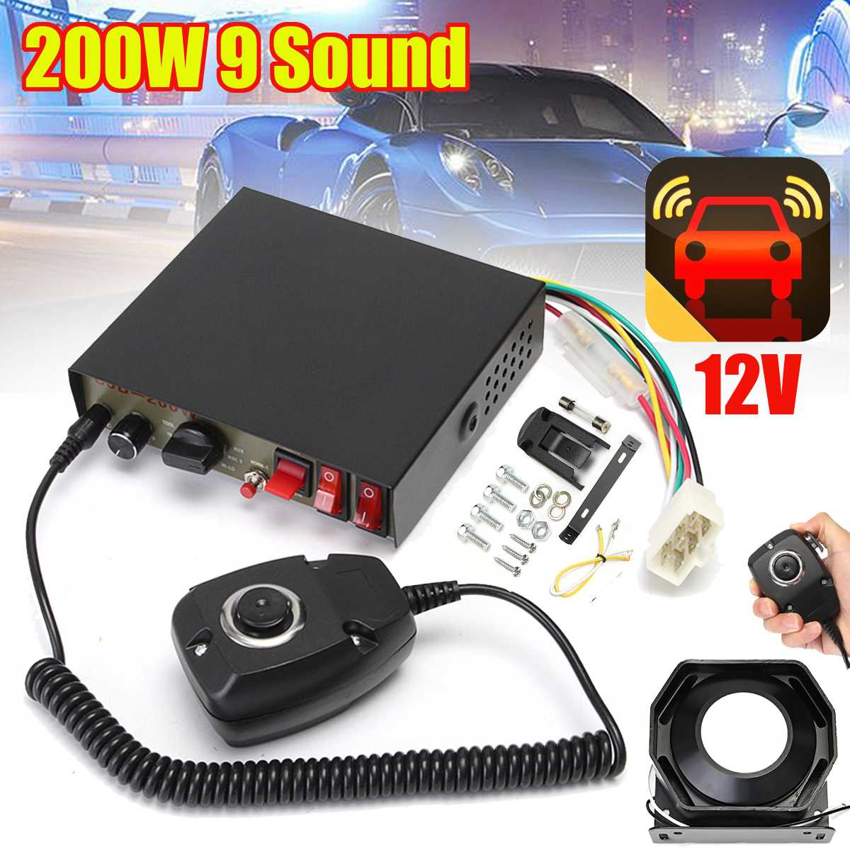 200 W 9 son fort voiture avertissement alarme sirène klaxon PA haut-parleur MIC système