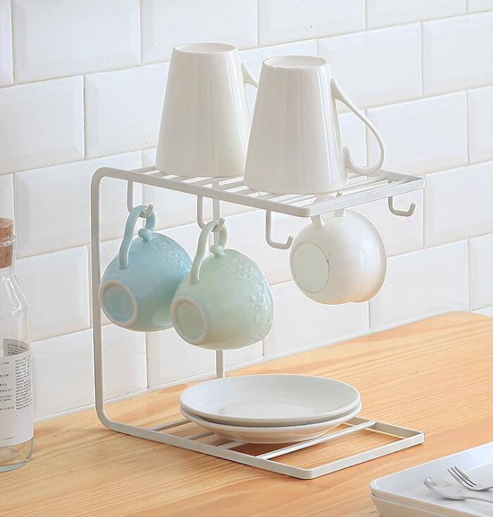 European style six claw Coffee Tea Cup display stand rack Kitchen Mug Hanging holder Rack dripping water cup free shipping