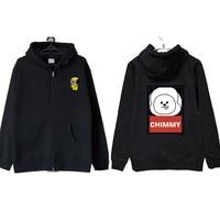 BTS Bulletproof Youth Club Sweatshirt Bt21 Cartoon New Style Surrounding Zip Hooded Sweatshirt Coat Autumn And Winter