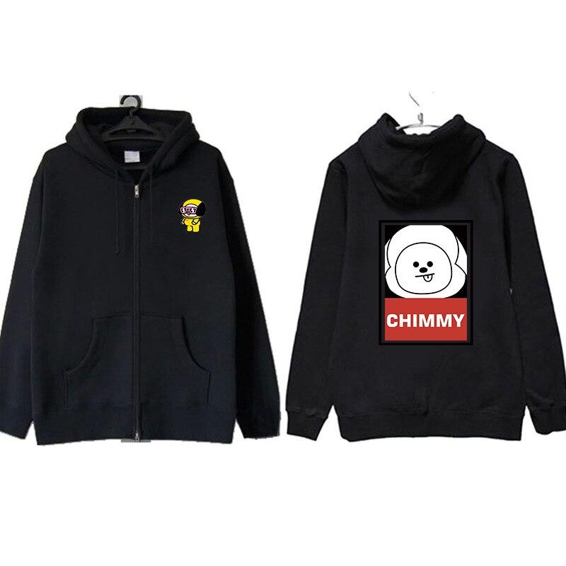 BTS sweat-shirt Club jeunesse à l'épreuve des balles Bt21 Cartoon nouveau Style autour du manteau sweat-shirt à capuche zippé automne et hiver