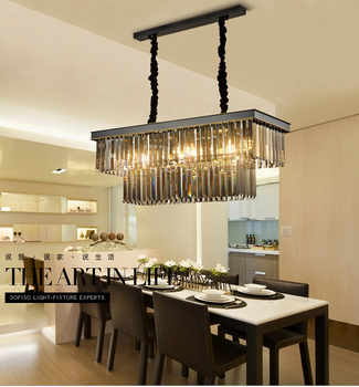 Square Retro Black American Crystal Pendant Light Black For Dining Room Restaurant Bedroom Study Room Living Room LED E14 bulbs