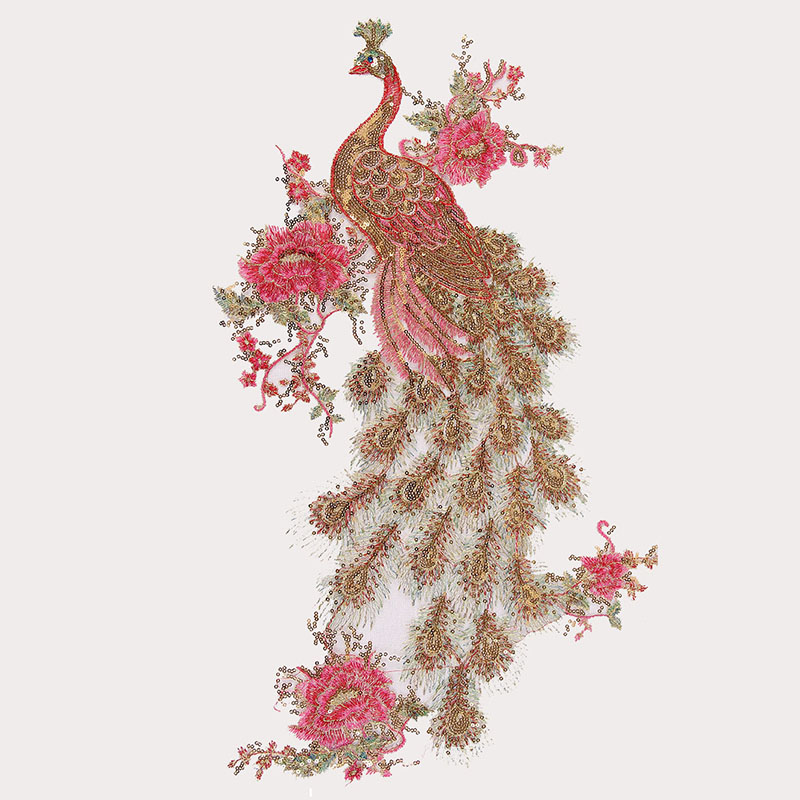 Red Sequin Patch Peacock Sew on Clothes Embroidery Applique Flowers DIY Sewing Clothing Patches Peahen