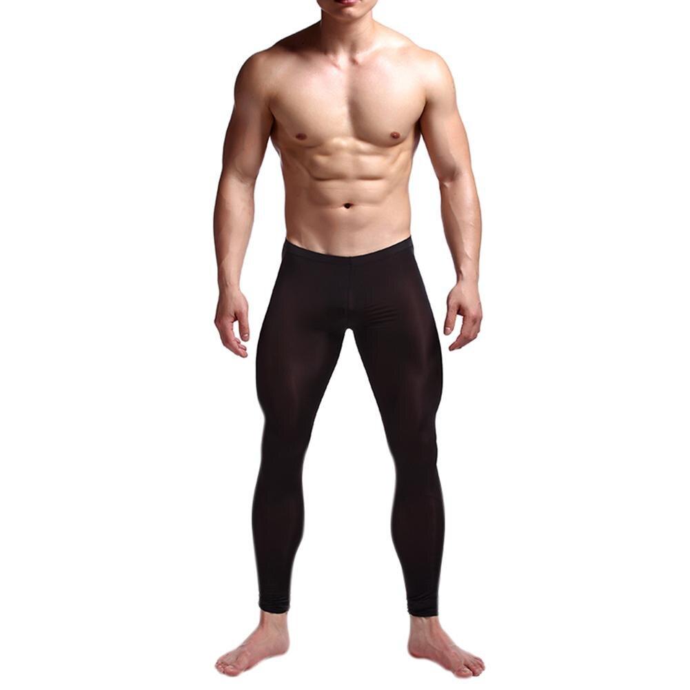 MISSKY Men Ice Silk Stretch Yoga Thin Warm Leggings Lifting Hip Tights Pants