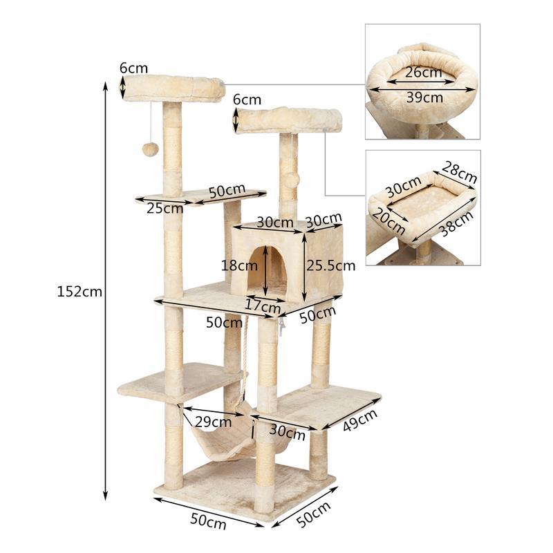 Augkun 60 cat tree tower com um condomínio duas plataformas sisal arranhando posts e rede pet house furniture cat torre de atividade - 5