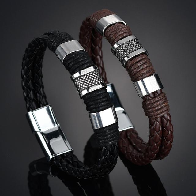 Knit Men PU Wedding Exquisite Leather Boys Beautiful 2019 New Arrival Zinc Alloy Hot Sale Bracelet Brown 1PC Weave Black Punk