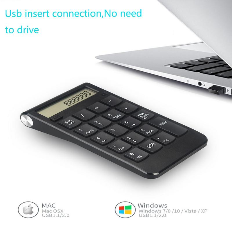 Teclado USB 2,4G pantalla Digital recargable inalámbrico numérico