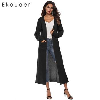 Ekouaer Long Knitted Cardigan Fashion Sweater Cardigans Front Open Knitted Solid Casual Calf Length Long Sleeve Kimono Knitwear