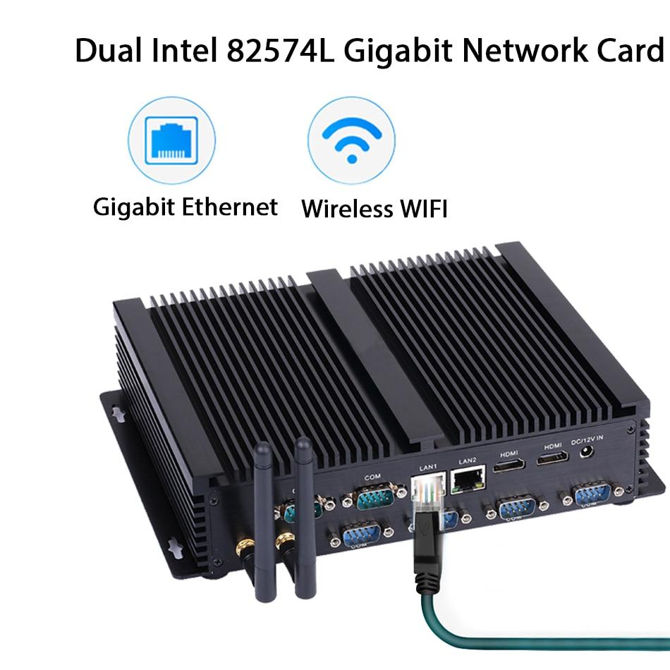 Fanless Industrial PC,Mini Computer,Windows 10,Intel Celeron 2955U,[HUNSN MA05I],(Dual WiFi/2HD/4USB2.0/4USB3.0/2LAN/6COM)