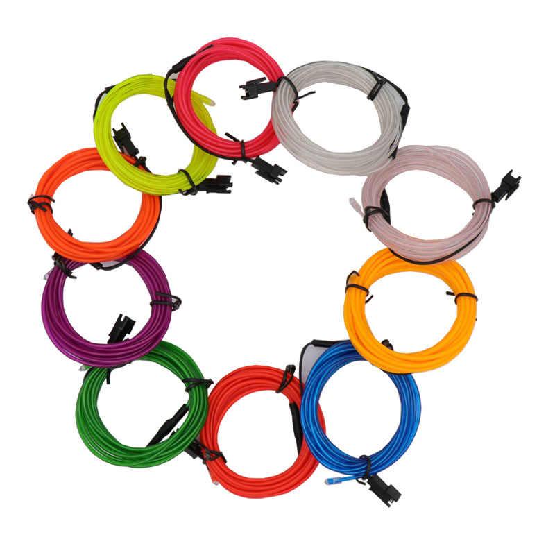 3M 9 pies con 2 * AA paquete de baterías decoración Auto coche EL cable de cuerda tubo de neón línea de luces 10 colores seleccionados fiesta coche estilo