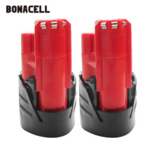 Bonacell 12V 2500mAh M12 Battery For Milwaukee Li-ion Rechargeable Battery 48-11-2401 MIL-12A-LI Tool Batteries L30