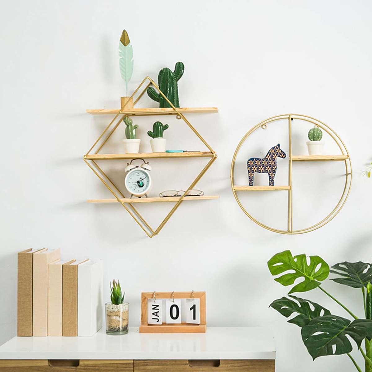 Nordic Metal Wall Shelf Shelves Organization Unit Bookcase Bookshelf Display Hanging Convenient Rack Holder Home Decoration Полка