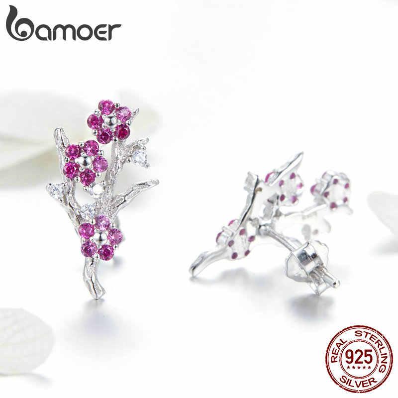 BAMOER 100% 925 เงินสเตอร์ลิง Blooming Wintersweet พลัมดอกไม้แหวนต่างหูผู้หญิงเครื่องประดับชุด Zircon เครื่องประดับ ZHS096
