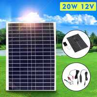 Flexible Solar Panel Plate 12V/5V 20W Solar Charger For Car Battery 12V 5V Phone Battery Sunpower Polycrystalline Silicon Cells