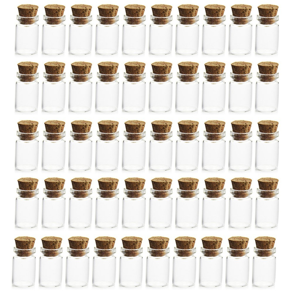 Drop Cheapest 50Pcs 0.5ml Mini Clear Glass Bottle Vials Empty Sample Jars with Cork Stopper Message Vial Weddings Wish Bottle