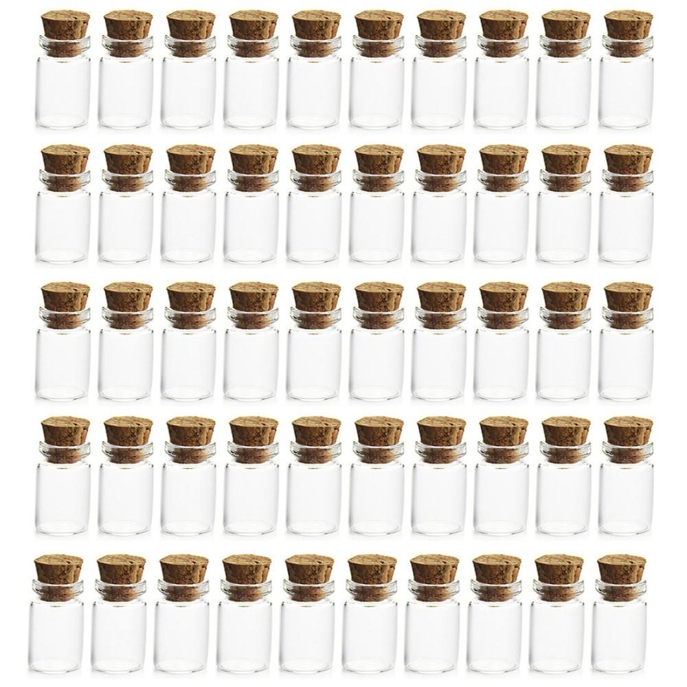 Drop Cheapest 50Pcs 0.5ml Mini Clear Glass Bottle Vials Empty Sample Jars with Cork Stopper Message Vial Weddings Wish Bottle