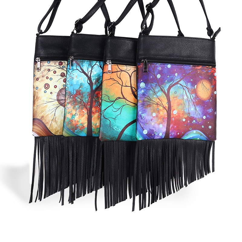 Fashion Small Designer Messenger Bags Women Hippie Tassel Bag Fringe Zipper Crossbody Shoulder Bag Ladies Print Flap Female