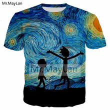 Funny Ricky and Morty 3D Printed Painting Van Gogh T shirt Men/women T-Shirt Harajuku Streetwear Tshirt Tees Boys Modis Clothes rick and morty t shirt 2019 ricky y morty schwifty t shirts print rock t shirt boys ricky and morty tshirt