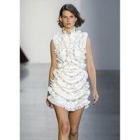 Элегантные белые кружевные короткие вечерние платья с оборками, украшенные бисером, для женщин 2019, летние платья для отпуска, в богемном сти