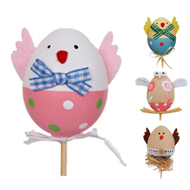 Plichtmatig Pasen Diy Hand Geschilderd Ei Kleuterschool Schattige Kleine Ei Stekken Plastic Craft Speelgoed Voor Naaien Scrapbooking Ambachten Inarch Eieren