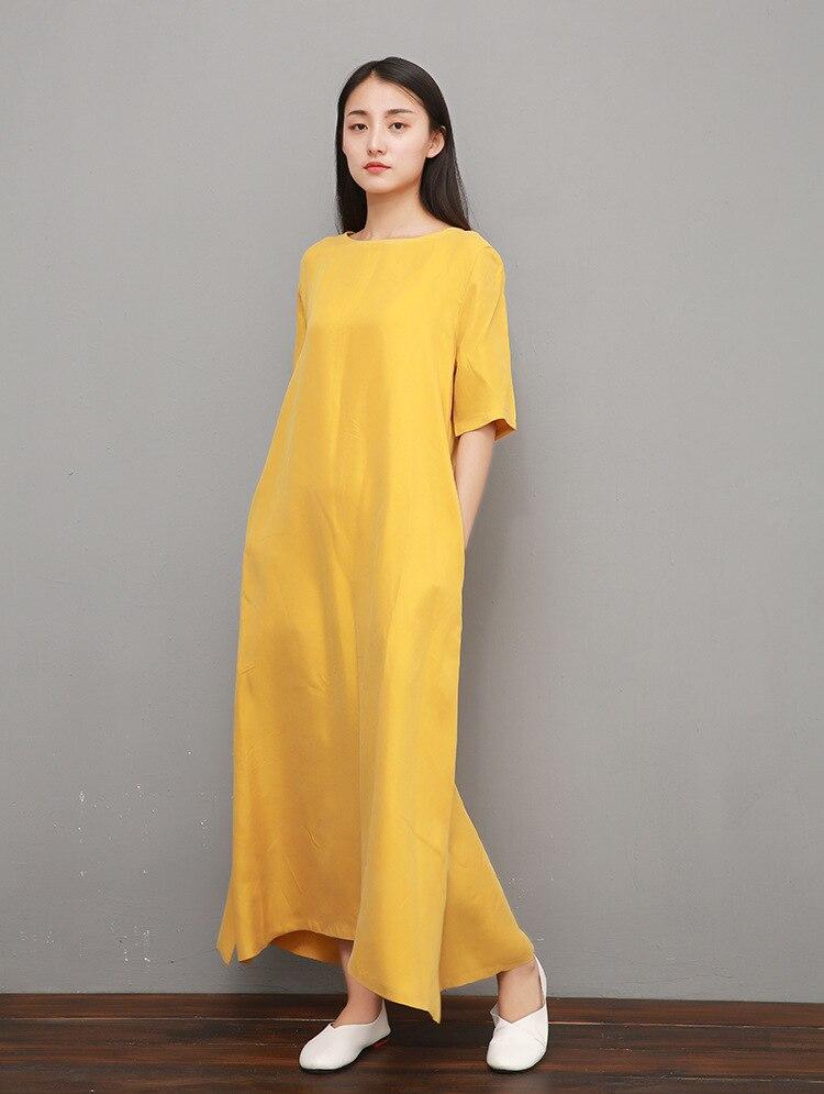 a0a65a48bb1 Maxi Demi Coton Vintage Boln Cuivre Longue Solide D été Robe Grande Robes  Manches ginger Femmes Color De Décontracté ...