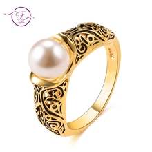 купить New Created Pearl Wedding Rings For Women Gold Color Jewelry Ring Engagement Party Fine Jewelry Female Anel Gifts Wholesale по цене 181.49 рублей