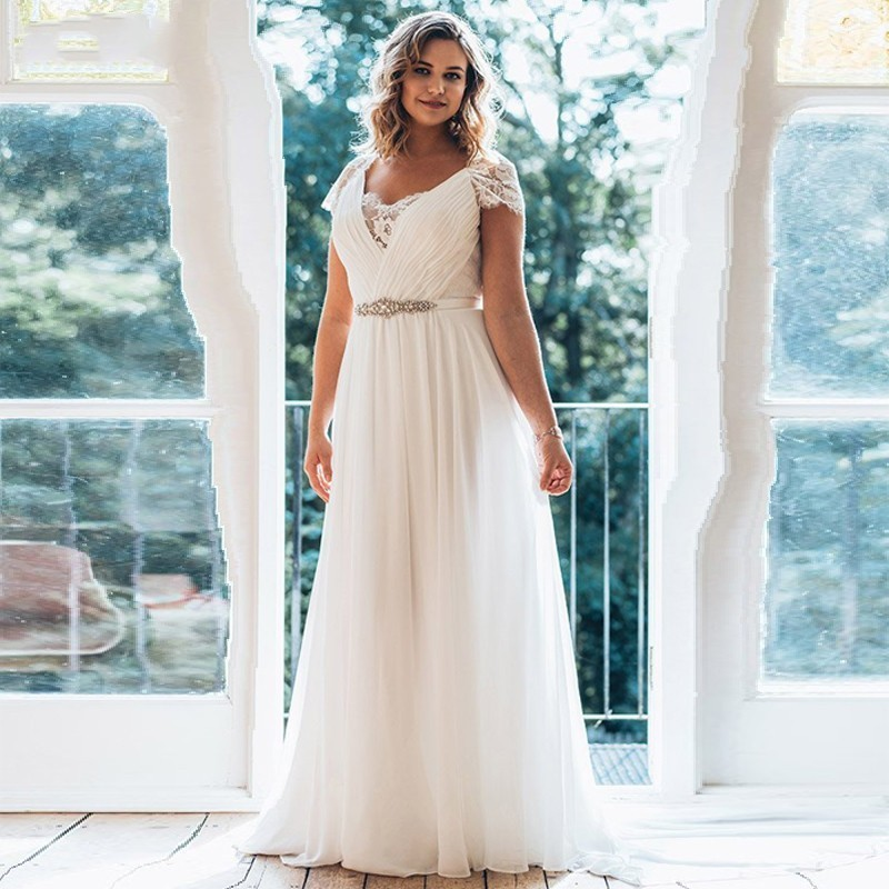 US $85.25 42% OFF|Eightale Plus Size Wedding Dresses 2019 Long V neck Short  Sleeve Brush Train Illusion Waist Jewellery Summer Wedding Dress-in ...