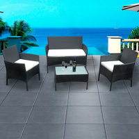 Panana Rattan Sofa Chair Table Set of 4 Hot Sale Wicker Garden Furniture Coffee Table Rattan Sofa Chair Stool