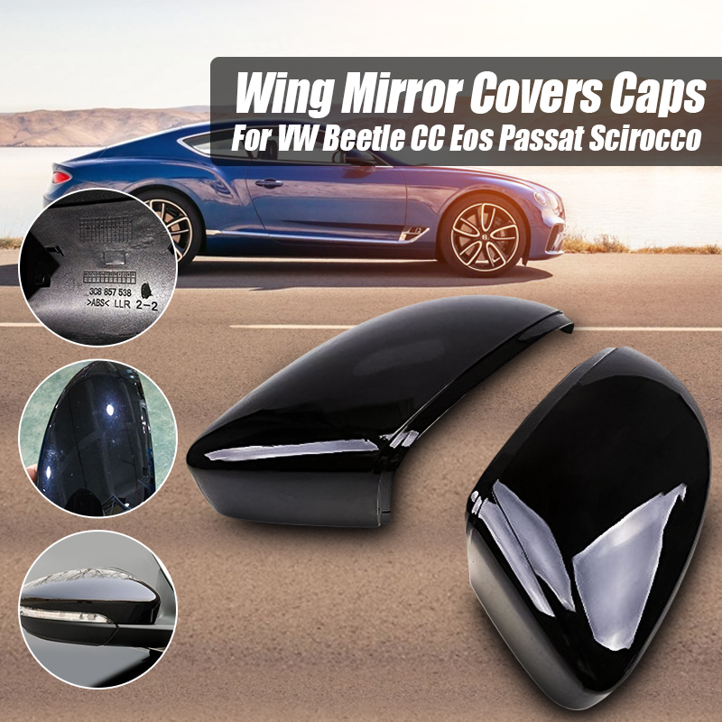 Pair Car Rear View Mirror Covers Rearview Mirrors Caps For VW Beetle CC Eos Passat Jetta Scirocco