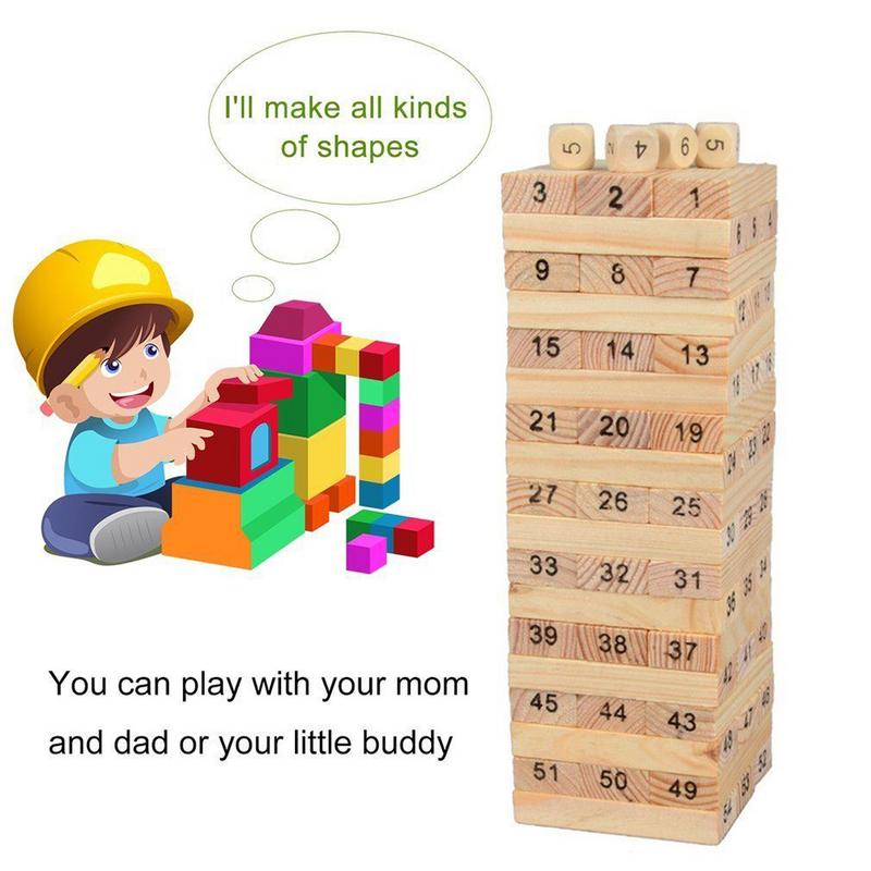 54Pcs Wooden Tower Hardwood Building Blocks Toy Domino Stacker Extract Building Educational Jenga Game for Children