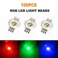 100x LED COB Chip RGB Beads Round High Power Diodes Chip DIY SMD Red Green Blue Wholesale LED Bulb 3W Lights