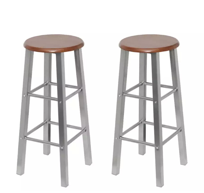 VidaXL Bar Stools 2 Pcs Metal With MDF Seat Easily Assembled And Durable Chairs