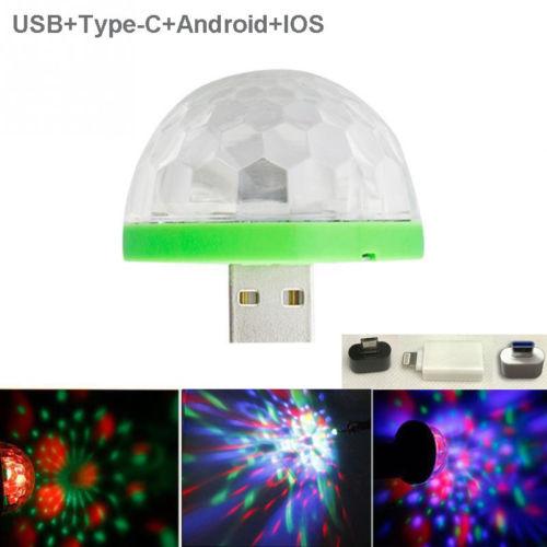 Mini USB LED luz nocturna Color cambiado por sonido música luces mágicas seta