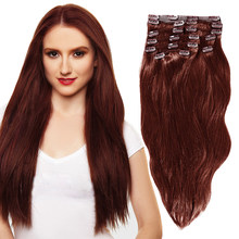YONNA Remy Hair Clip in Human hair Extensions Double Weft Long Soft Straight 10 Pieces Thick to Ends Full Head(China)