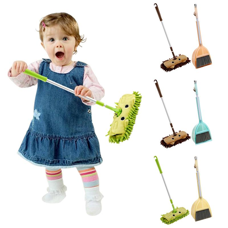 Baby Mini House Sweeping Cleaning Toy Combination - Child Mop Broom Dustpan Set - Telescopic Flat Mop