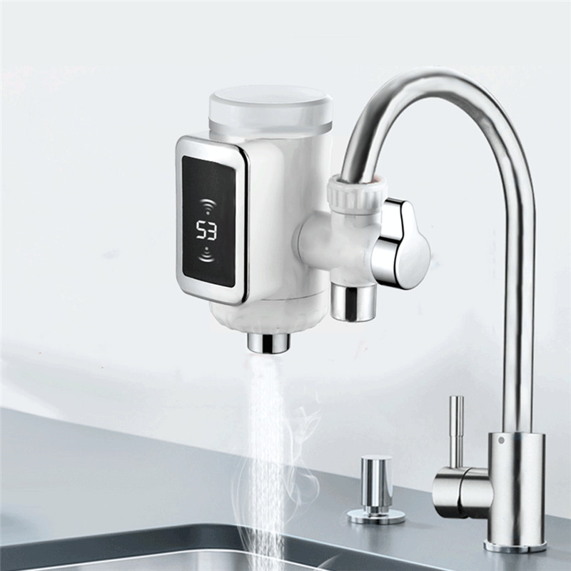 3000W Free-installation Electric Water Heaters Kitchen Cool/Hot Water Faucet 3 Sec LED Water Heater Rotatable With Temp Display