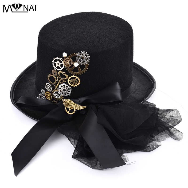 Diy Gothic Victorian Steampunk Black Top Hat For Male Female Gears Wing Key Hats With Veils Bowknot Punk Hat Accessories