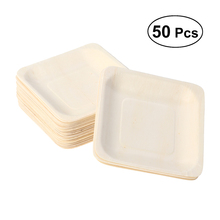 50 шт./компл. натуральные деревенские безопасные одноразовые деревянные тарелки для вечеринки посуда для пикника