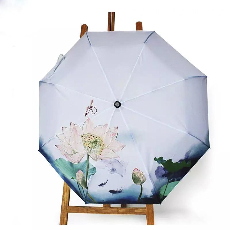 Ink Painting Umbrella Rain and Sun Women Umbrella Fold AntiUV Parasol Lotus Pattern Colour Printing