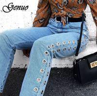 2019 New High Waist Eyelets Jeans Boyfriend Denim Jeans Women Pants Female Jeans For Woman