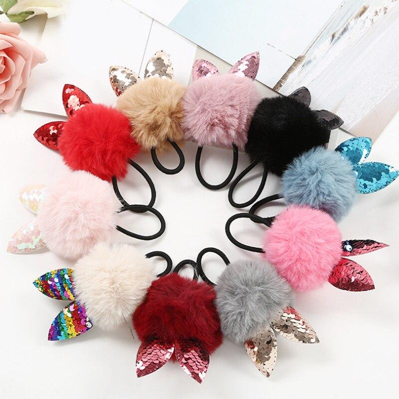 Hot Korean hair ball cute Sequin rabbit ears girl rope children ring adult rubber accessories