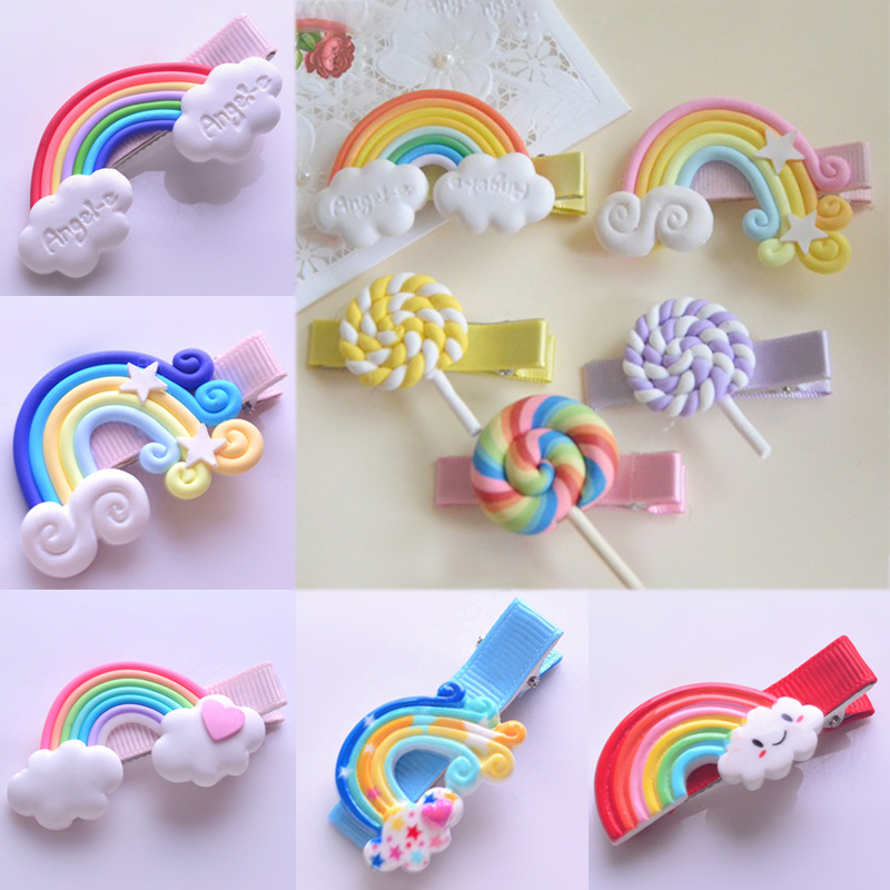 White Cloud Girls Hair Clips 1PC Children Kids Star Seaside Polymer Clay Hairpins Candy Colors Rainbow Lollipop Hair Accessories