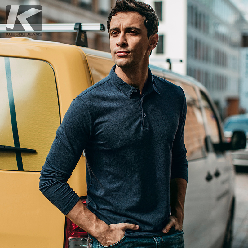 Autumn Men   Polo   Shirt Cotton Blue Color For Man Casual Long Sleeve Slim Fit Clothes 2018 New Male Wear Tops Brand Clothing 225