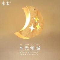 Японский дерева кулон с Луной и звездами свет татами Декор подвесные лампы для ресторана Гостиная прихожей подвесной светильник E27