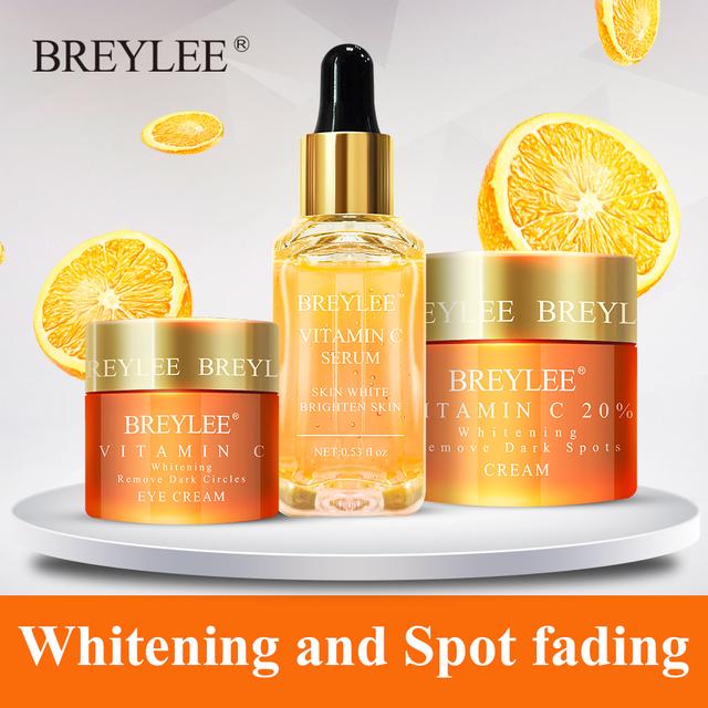 Breylee Vitamin C Sets Eyes Cream Face Serum Face Cream Whitening Remove Dark Circles Fade Freckles Spots Eys Face Skin Care