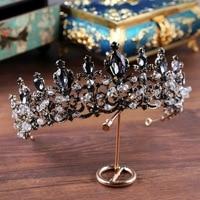 Handmade Rhinestone Beads Headband Bronze Vintage Baroque Tiara Crown Princess Coronet Headdress for Wedding Bridal Headpieces